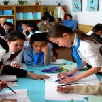 These children at a school in turkestan city are participating i
